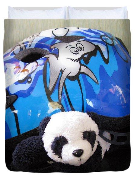 This Helmet Is So Heavy Ugh Duvet Cover by Ausra Huntington nee Paulauskaite