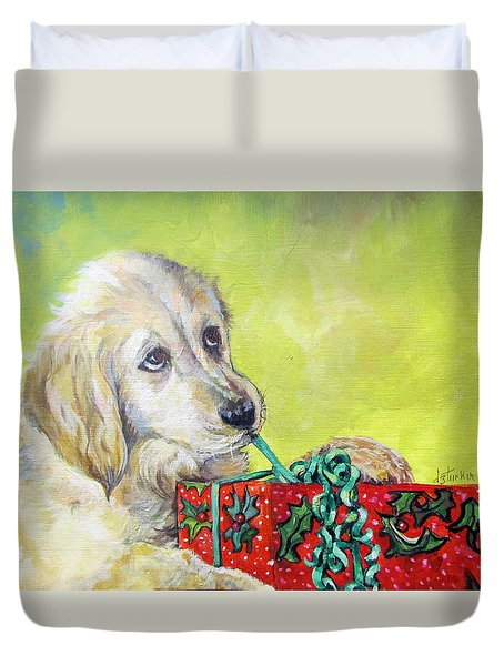 Duvet Cover featuring the painting This Is Mine? Right? by Donna Tucker