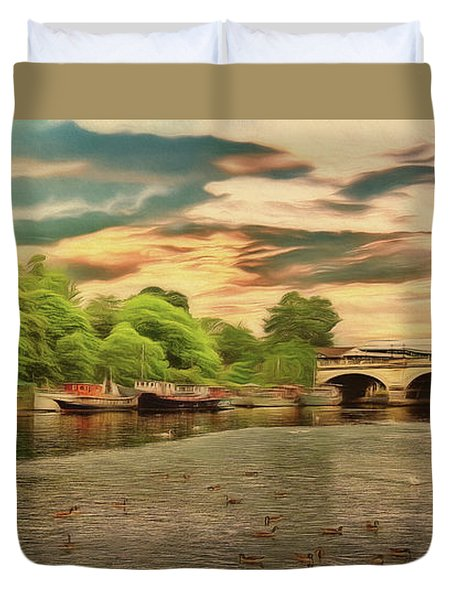 This Morning On The River Duvet Cover