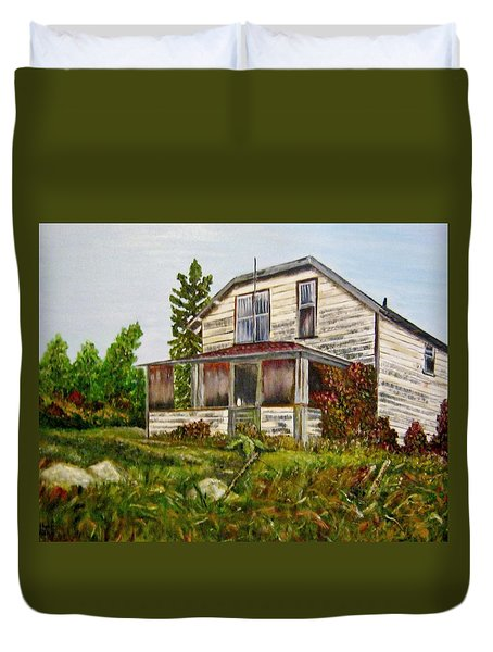 Duvet Cover featuring the painting This Old House by Marilyn  McNish