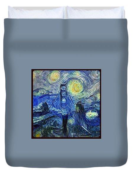 Starry Night At The Golden Gate Bridge Duvet Cover