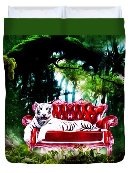 Duvet Cover featuring the mixed media This Place Is Reserved For The Boss by Gabriella Weninger - David