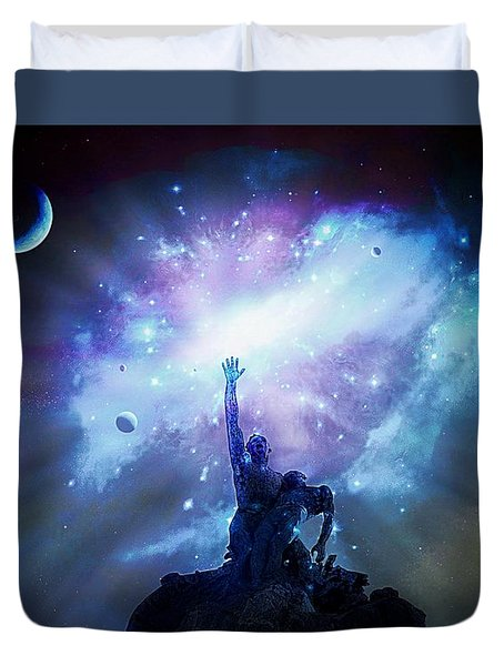 This Poor Man Cried, And The Lord Heard Him, And Saved Him Out Of All His Troubles. Duvet Cover