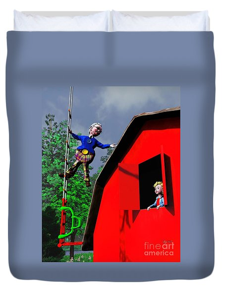 Duvet Cover featuring the painting This Way To The Sky by Dave Luebbert