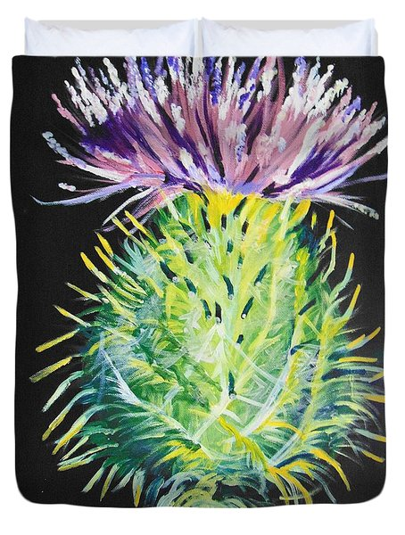 Duvet Cover featuring the painting Thistle by Saundra Johnson