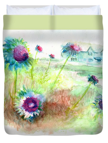 Duvet Cover featuring the painting Thistles #1 by Andrew Gillette