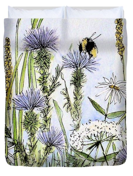 Thistles Daisies And Wildflowers Duvet Cover