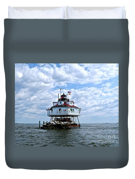 Thomas Point Lighthouse Duvet Cover by Nancy Patterson