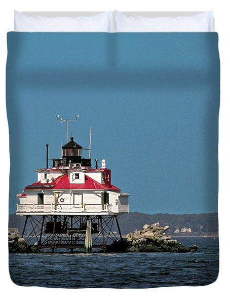 Thomas Point Shoal Light Duvet Cover