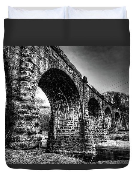 Thomas Viaduct In Black And White Duvet Cover
