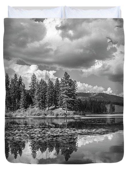 Thompson Lake In Black And White Duvet Cover