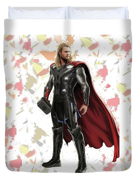 Duvet Cover featuring the mixed media Thor Splash Super Hero Series by Movie Poster Prints