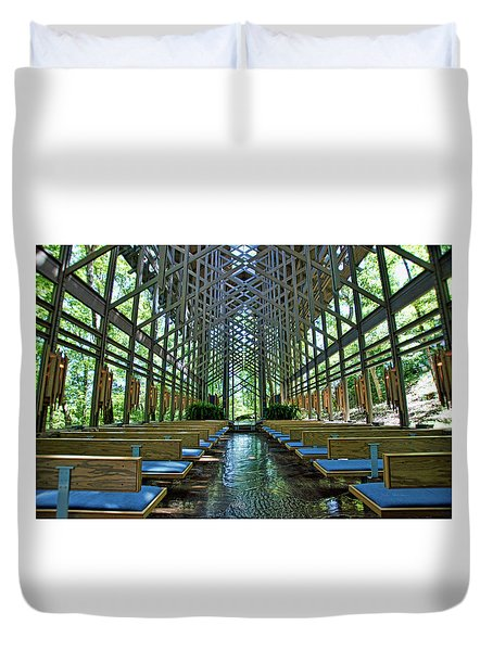 Duvet Cover featuring the photograph Thorncrown Chapel Interior by Cricket Hackmann