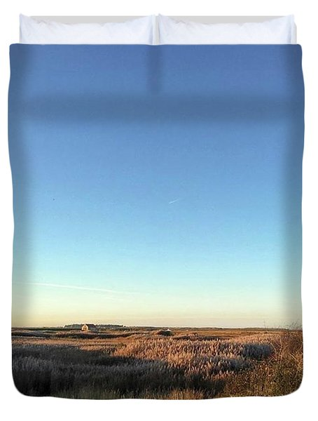 Thornham Marsh Lit By The Setting Sun Duvet Cover