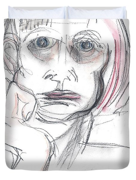 Duvet Cover featuring the drawing Thoughtful - A Selfie by Carolyn Weltman