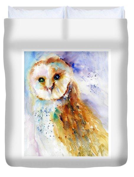 Thoughtful Barn Owl Duvet Cover by Christy Lemp