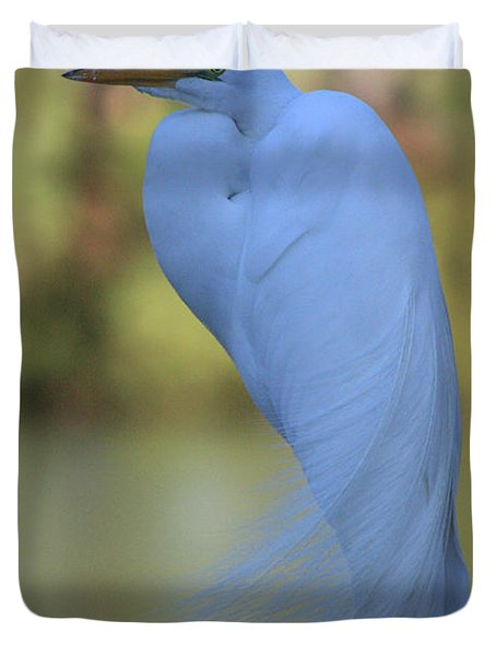 Thoughtful Heron Duvet Cover