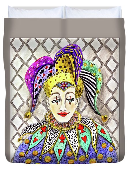 Thoughtful Jester Duvet Cover