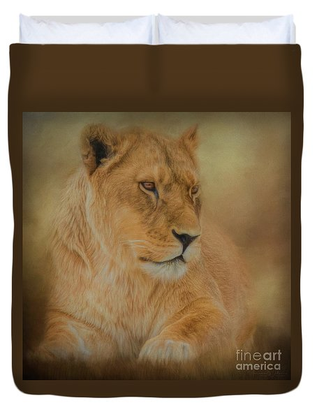 Thoughtful Lioness - Square Duvet Cover