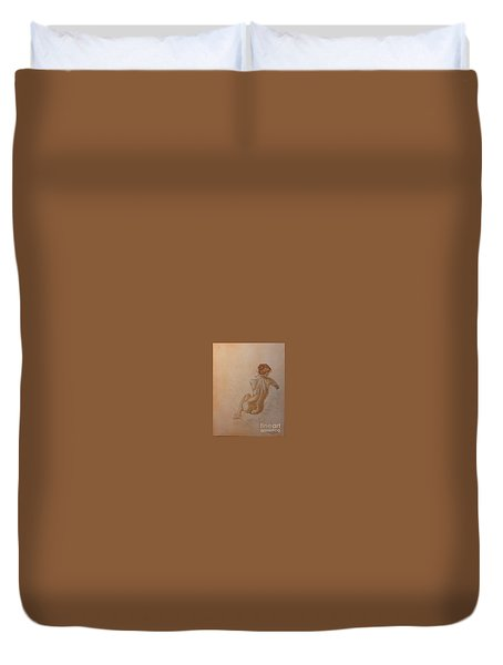 Thoughtful Nude Lady Duvet Cover