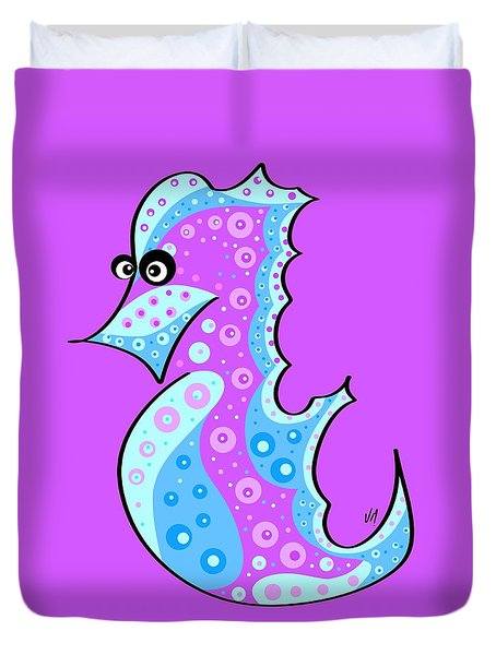 Duvet Cover featuring the painting Thoughts And Colors Series Seahorse by Veronica Minozzi