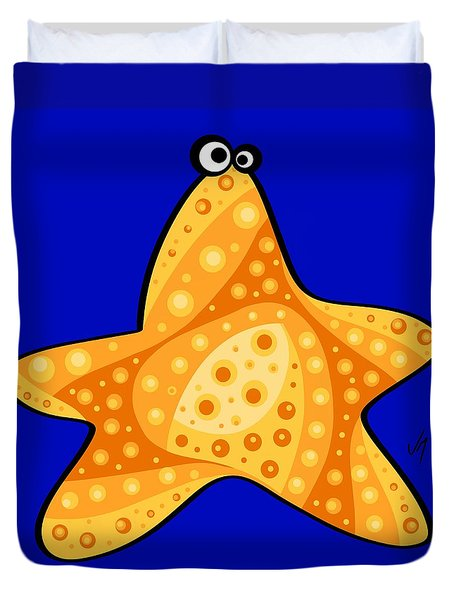 Duvet Cover featuring the painting Thoughts And Colors Series Starfish by Veronica Minozzi