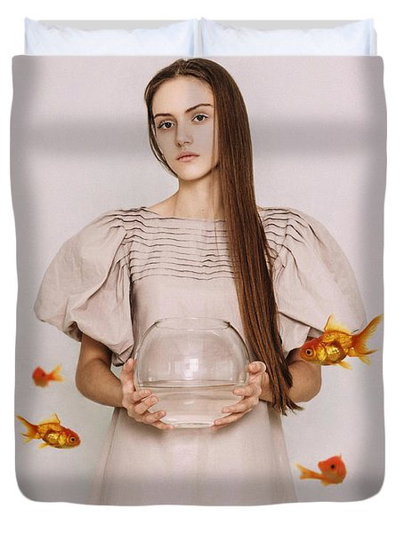 Thoughts Of Freedom. Series Escape Of Golden Fish  Duvet Cover