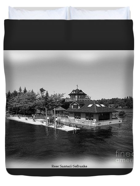 Thousand Islands In Black And White Duvet Cover