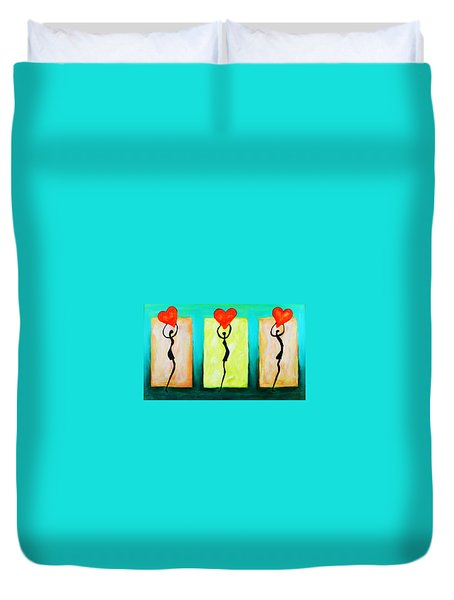 Three Abstract Figures With Hearts Duvet Cover