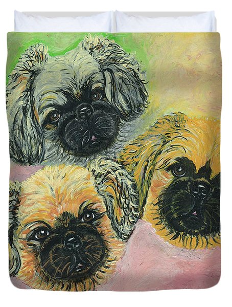 Duvet Cover featuring the painting Three Amigos by Ania M Milo