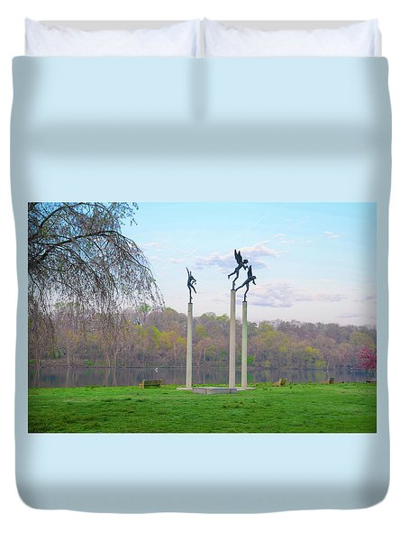 Duvet Cover featuring the photograph Three Angels In Spring - Kelly Drive Philadelphia by Bill Cannon