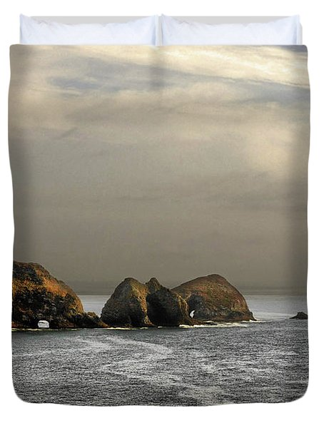 Three Arch Rocks - Oceanside Near Cape Meares - Oregon Duvet Cover by Christine Till