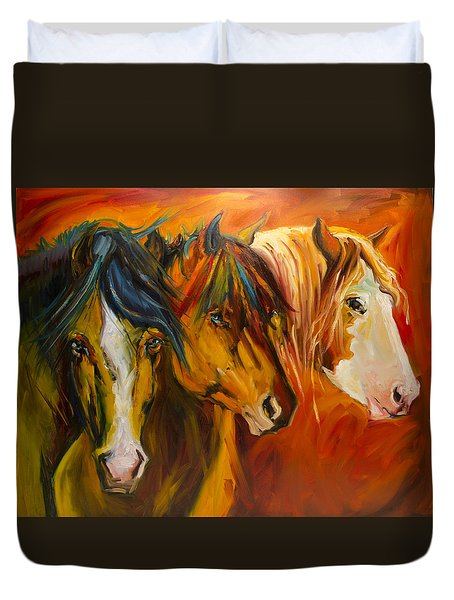 Three At The Fence Line Duvet Cover