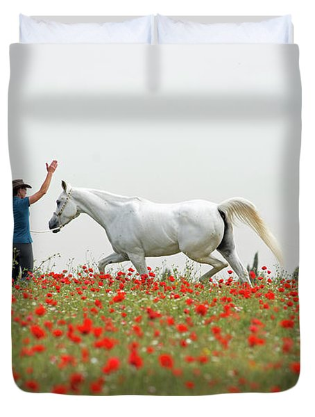 Three At The Poppies' Field Duvet Cover