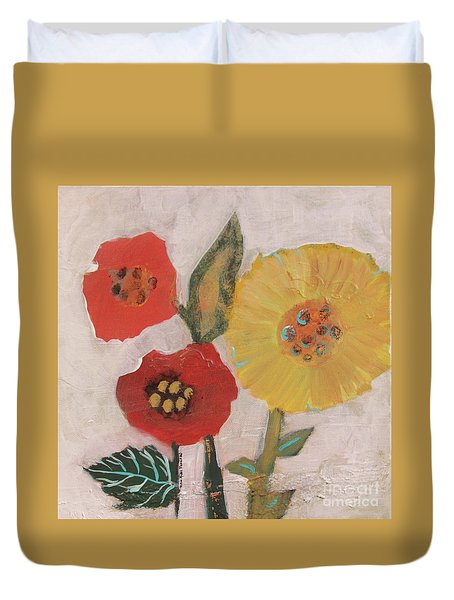 Duvet Cover featuring the painting Three Awkward Flower Blossoms by Robin Maria Pedrero