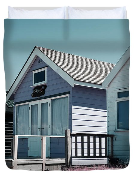 Three Beach Huts Blue Duvet Cover