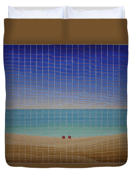 Three Beach Umbrellas Duvet Cover