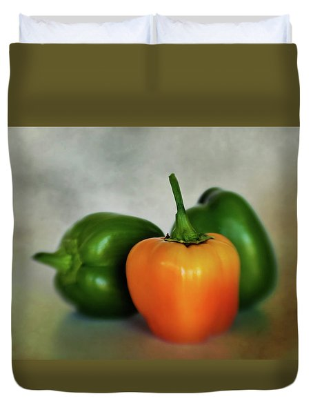 Duvet Cover featuring the photograph Three Bell Peppers by David and Carol Kelly