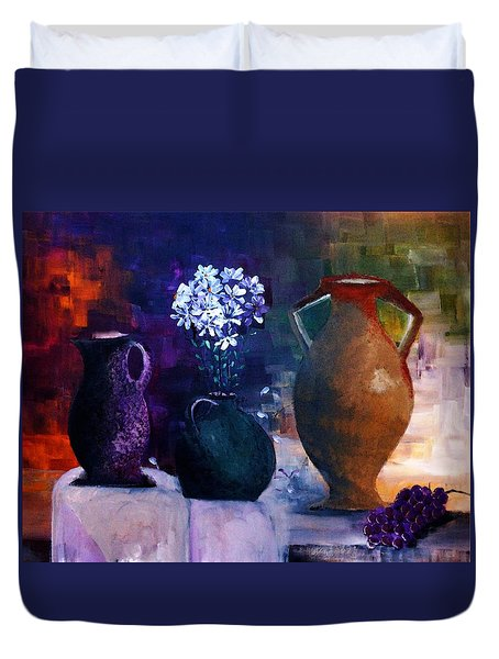 Duvet Cover featuring the painting Three Best Friends by Lisa Kaiser