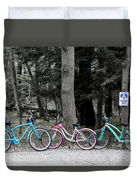 Three Bikes  Duvet Cover