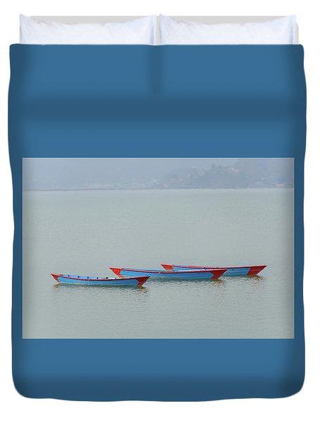 Three Blue Boats On Phewa Lake In Pokhara Duvet Cover