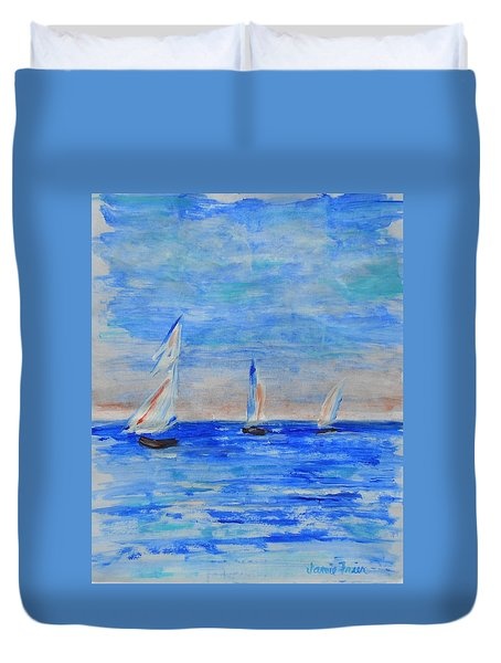 Three Boats Duvet Cover by Jamie Frier