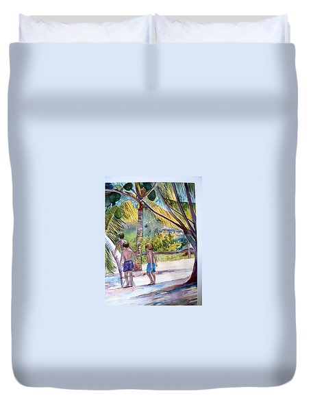 Three Boys Climbing Duvet Cover