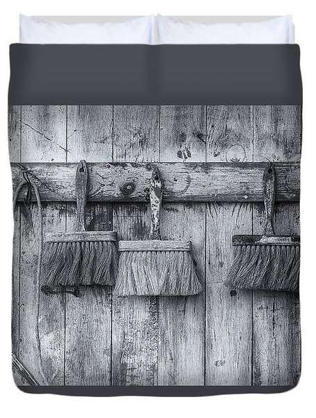 Duvet Cover featuring the photograph Three Brushes Black And White by Tom Singleton