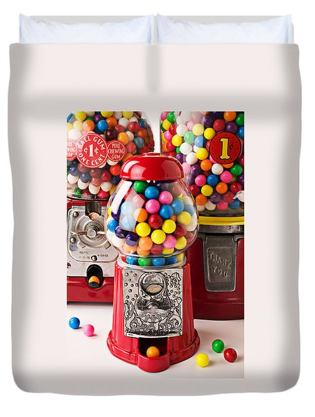 Three Bubble Gum Machines Duvet Cover by Garry Gay