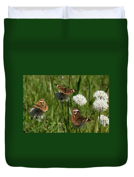 Three Buckeye Butterflies On Wildflowers Duvet Cover by Sheila Brown