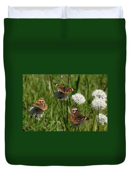 Three Buckeye Butterflies On Wildflowers Duvet Cover