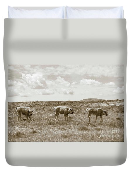 Duvet Cover featuring the photograph Three Buffalo Calves by Rebecca Margraf