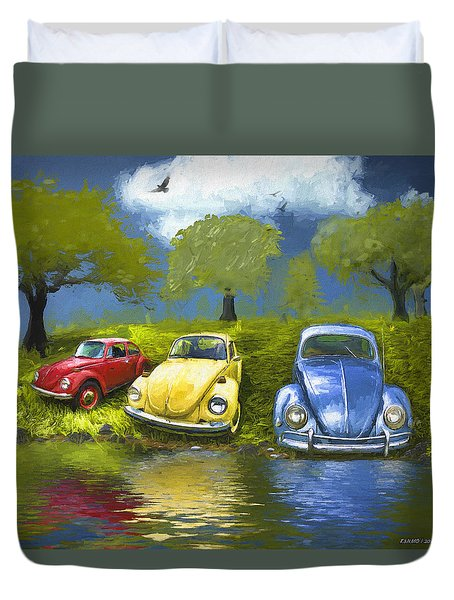 Three Bugs On A Hill Duvet Cover
