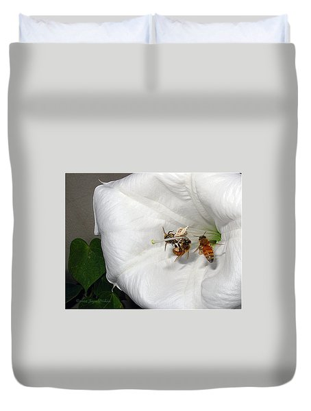 Duvet Cover featuring the photograph Three Busy Bees by Joyce Dickens